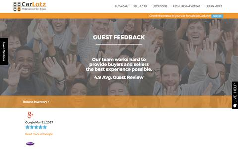 Screenshot of Testimonials Page carlotz.com - Customer Testimonials | CarLotz in Virginia and North Carolina - captured April 3, 2017