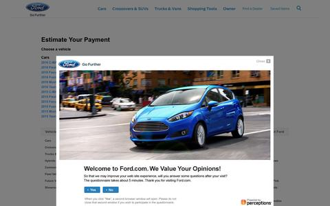 Screenshot of ford.com - Estimate Your Payment | Ford Vehicles | Ford.com - captured March 20, 2016