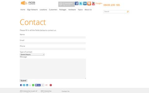Screenshot of Contact Page ads-digital.net - Contact | ADS iSign - captured Oct. 4, 2014