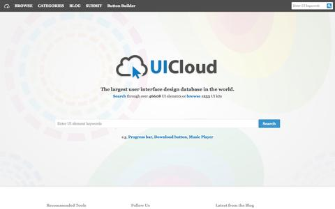 Screenshot of Home Page ui-cloud.com - UICloud | User Interface Design Search Engine, UI, UX, GUI, Inspiration, Resources, Elements, User Experience, Free Downloads, Freebies - captured Sept. 25, 2014