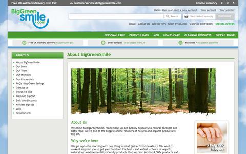 Screenshot of About Page biggreensmile.com - About Big Green Smile - captured Oct. 10, 2017