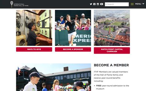 Screenshot of Support Page tennisfame.com - Support - captured Nov. 26, 2016