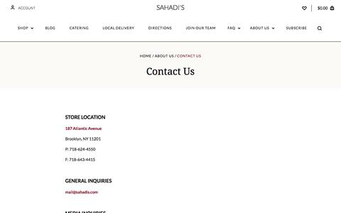Screenshot of Contact Page sahadis.com - Contact Us - captured Jan. 27, 2018