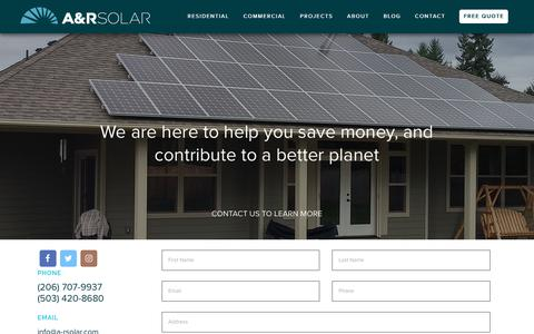 Screenshot of Contact Page a-rsolar.com - Contact Us | A&R Solar - captured May 26, 2017