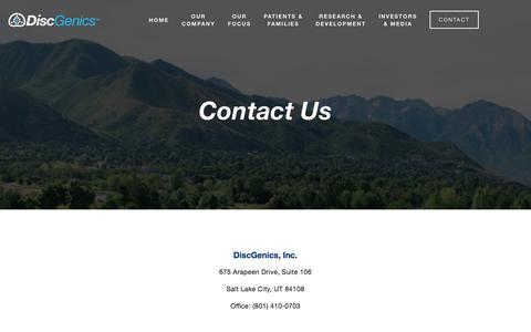 Screenshot of Contact Page discgenics.com - Contact DiscGenics — DiscGenics - captured Aug. 7, 2018