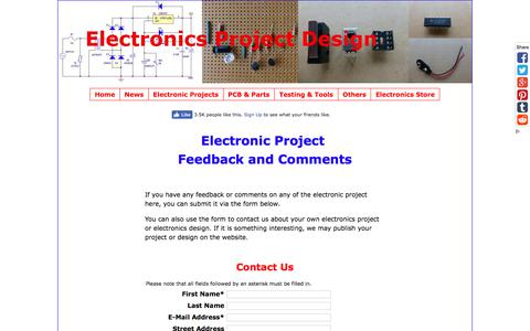 Screenshot of Contact Page electronics-project-design.com - Electronic project feedback - captured Sept. 23, 2018