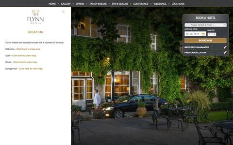 Screenshot of Locations Page flynnhotels.com - 4 Star Hotels in Cork, Killkenny, Ennis and Dungarvan - Flynn Hotels - captured Oct. 29, 2014