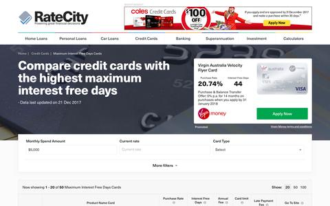 2017 Max Interest Free Days Credit Cards | Up to 62 Days | RateCity
