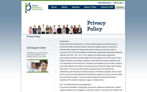 Screenshot of Privacy Page patientrecruiters.com - Clinical Research Organization, Patient Recruiting Agency  | Patient Recruiters International - captured Oct. 2, 2014