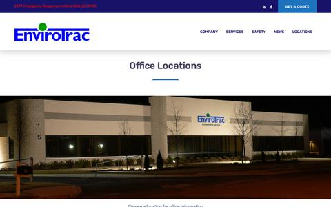 Screenshot of Locations Page envirotrac.com - Locations - EnviroTrac Environmental Services - captured Sept. 28, 2018