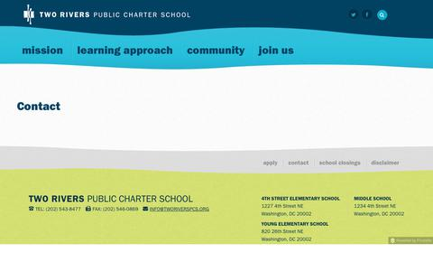 Screenshot of Contact Page tworiverspcs.org - Contact - Two Rivers Public Charter School - captured Oct. 27, 2017