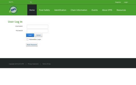 Screenshot of Login Page ifpsglobal.com - User Log In - captured Sept. 30, 2018