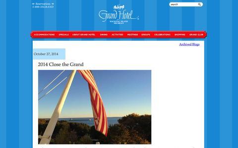 Screenshot of Blog grandhotel.com - Grand Hotel Mackinac Island blog - America's True Grand Hotel - captured Oct. 28, 2014