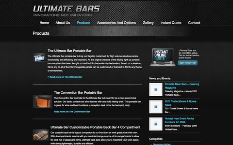 Screenshot of Products Page ultimatebars.com - Products « Custom Portable LED Bars | Ultimate Bars Custom Portable LED  Bars | Ultimate Bars - captured Sept. 30, 2014
