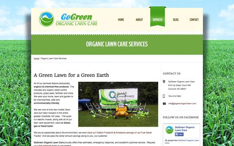 Screenshot of Services Page gogreenorganiclawn.com - Organic Lawn Care Service Charlotte NC | Organic Lawn Care Services | Organic Lawn Care Service in Charlotte & Concord, NC | QuichE GreenScapes | Reliable, Eco-friendly, Environmentally Friendly, Green, Chemical-Free Organic Lawn Care Service in Conc - captured Oct. 2, 2014