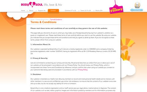 Screenshot of Terms Page bodyandsoulcharity.org - Terms & Conditions | Body & Soul - captured Oct. 5, 2014