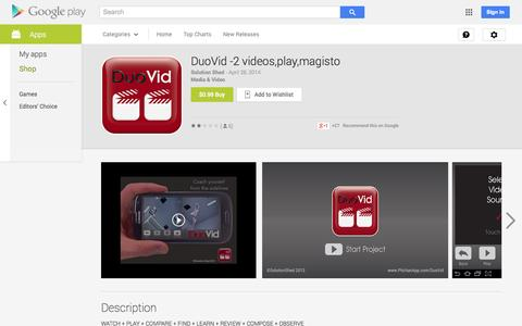 Screenshot of Android App Page google.com - DuoVid -2 videos,play,magisto - Android Apps on Google Play - captured Oct. 22, 2014