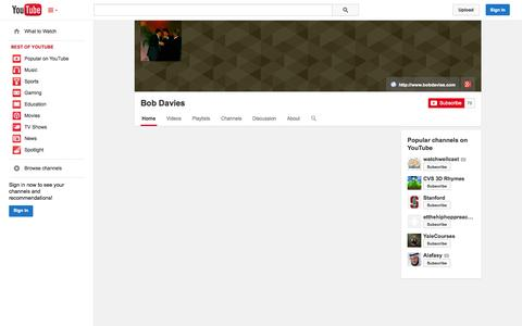 Screenshot of YouTube Page youtube.com - Bob Davies  - YouTube - captured Nov. 2, 2014