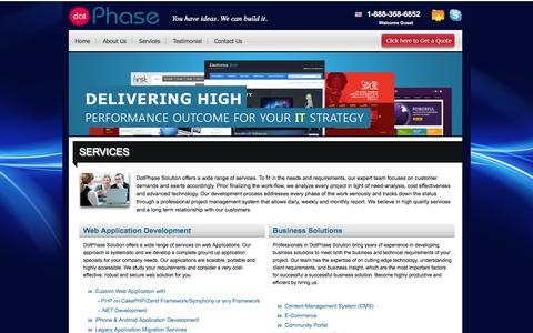 Screenshot of Services Page dotphase.com - DotPhase Services -  Web Site Development, Web Design, Website Design, Website Development, Ecommerce   dotphase.com   dotPhase - captured Sept. 30, 2014