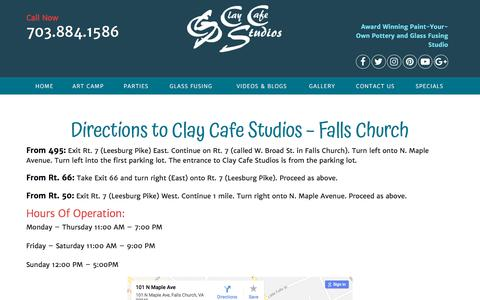 Screenshot of Maps & Directions Page claywire.com - directions - Clay Cafe Studios - captured July 2, 2018