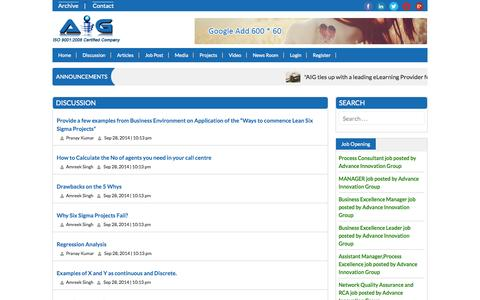 Screenshot of Blog advanceinnovationgroup.com - Articles and Blog on lean,six sigma, green belt etc. - captured Sept. 30, 2014