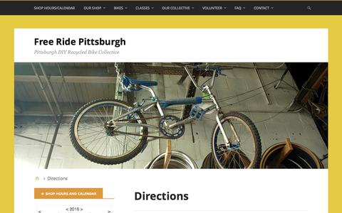 Screenshot of Maps & Directions Page freeridepgh.org - Directions – Free Ride Pittsburgh - captured June 9, 2016