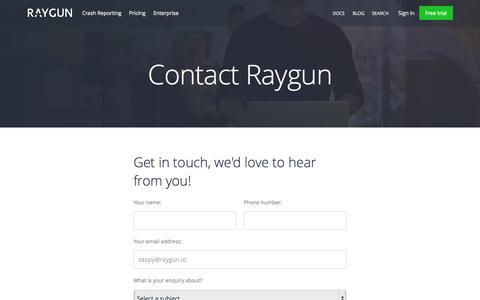 Screenshot of Contact Page raygun.io - Contact us | Raygun - captured Sept. 27, 2015