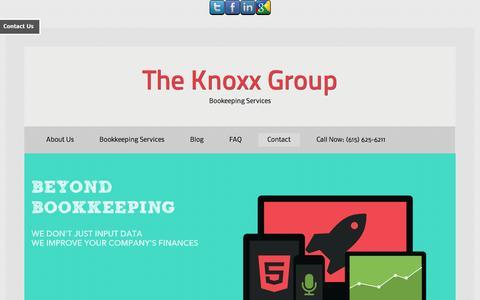 Screenshot of Contact Page knoxxgroup.com - Contact - Nashville CPA - captured Oct. 6, 2014