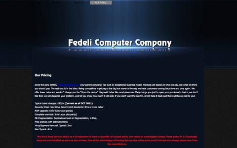 Screenshot of Pricing Page fedcco.com - Our Pricing - Fedeli Computer Company - captured Oct. 5, 2014
