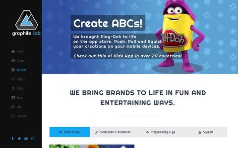 Screenshot of Services Page graphitelab.com - Services – Graphite Lab | Video Game Developer, St. Louis, Missouri - captured Nov. 13, 2018