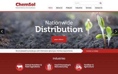 Screenshot of Home Page chemsolusa.com - Chemical Supplier | Industrial Chemicals, Food Additives, Agricultural Chemicals, Oilfield Chemicals | ChemSol - captured Dec. 8, 2015
