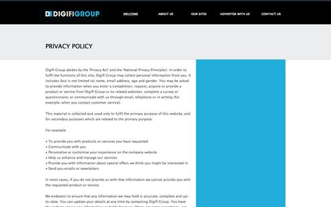Screenshot of Privacy Page digifigroup.com.au - Privacy Policy - Digifi - The Digital Finance Group - captured Jan. 23, 2017
