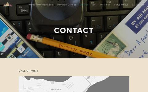 Screenshot of Contact Page madisonapartments.com - Contact — MadisonApartments.com - captured Nov. 2, 2014