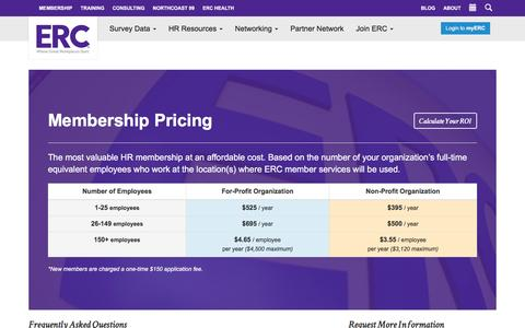 Screenshot of Pricing Page yourerc.com - ERC Membership Pricing - HR Resources in Cleveland & Akron | ERC - captured Jan. 14, 2016