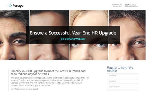 Screenshot of Landing Page panaya.com - Ensure a Successful Year-End Upgrade for your SAP HR System – Panaya - captured Sept. 20, 2018