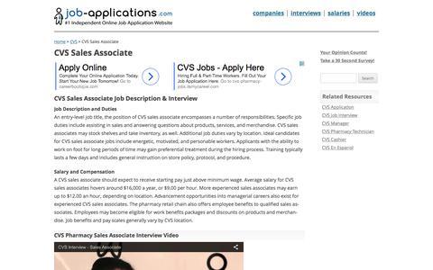 Screenshot of Support Page job-applications.com - CVS Sales Associate - Job Description & Salary - captured Nov. 27, 2016