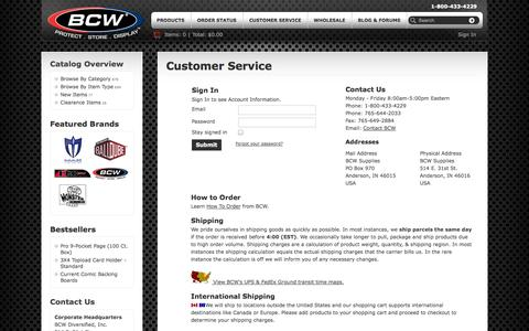 Screenshot of Support Page bcwsupplies.com - Customer Service | BCW Supplies - captured Nov. 2, 2014