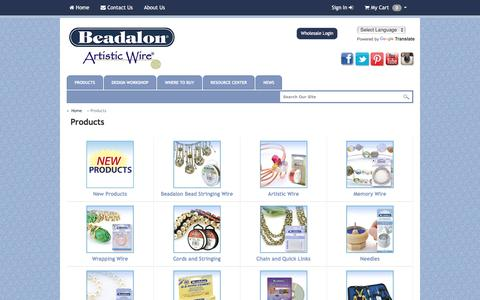 Screenshot of Products Page beadalon.com - Beadalon - Products - captured March 30, 2016