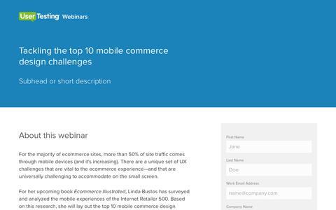 Screenshot of Landing Page usertesting.com - OnDemand Webinar - Tackling the top 10 mobile commerce design challenges| UserTesting - captured April 21, 2018