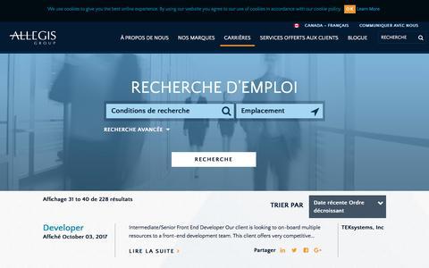 Screenshot of Jobs Page allegisgroup.com - Recherche d'emploi - captured Oct. 4, 2017