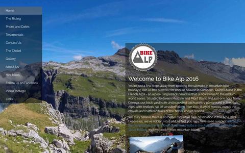 Screenshot of Home Page bike-alp.com - Mountain Bike Holidays Alps. Epic Singletrack mountain biking from the author of the guide Alps mountain biking - captured June 13, 2016
