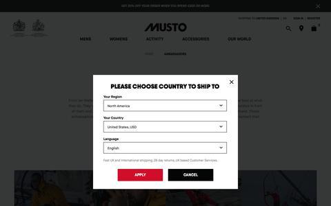 Screenshot of Team Page musto.com - Ambassadors | Sailing, Shooting, Equestrian & Ski | Musto - captured Nov. 6, 2018