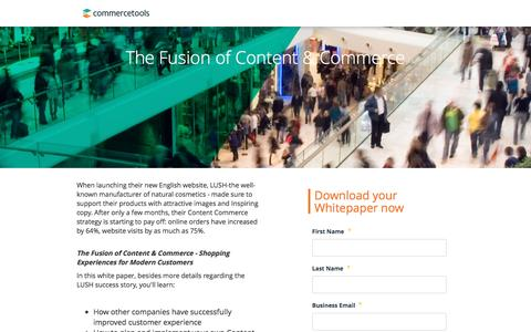 Screenshot of Landing Page commercetools.com - Commercetools | Content and commerce - Free whitepaper - captured July 9, 2016