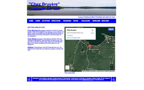 Screenshot of Maps & Directions Page chezbruyere.com - Mont Tremblant  log cabin for rent - captured Sept. 29, 2014
