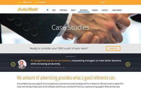 Screenshot of Case Studies Page automate.com - Customer Testimonials | Auto/Mate - captured Oct. 4, 2018