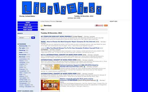 Screenshot of Services Page listitfirst.com - Florida, United States:  Showing ads in Services - ListItFirst.com - captured Nov. 5, 2014