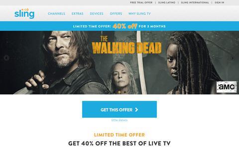 Screenshot of Home Page sling.com - Live TV Streaming Services - Online | Sling TV - captured Feb. 27, 2019