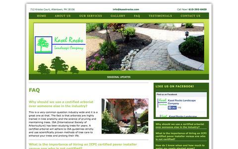 Screenshot of FAQ Page kaselrocks.com - Lehigh Valley Tree Specialists, Landscape Design and Maintenance FAQs - captured Oct. 6, 2014