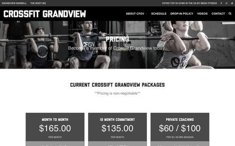 Screenshot of Pricing Page crossfitgrandview.com - Pricing | Crossfit Grandview - captured Aug. 29, 2016