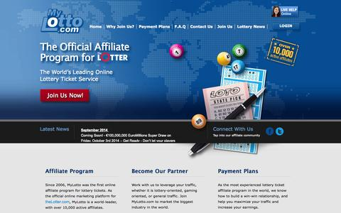Screenshot of Home Page mylotto.com - MyLotto.com - The Leading Online Lottery Ticket Affiliate Program - captured Sept. 19, 2014